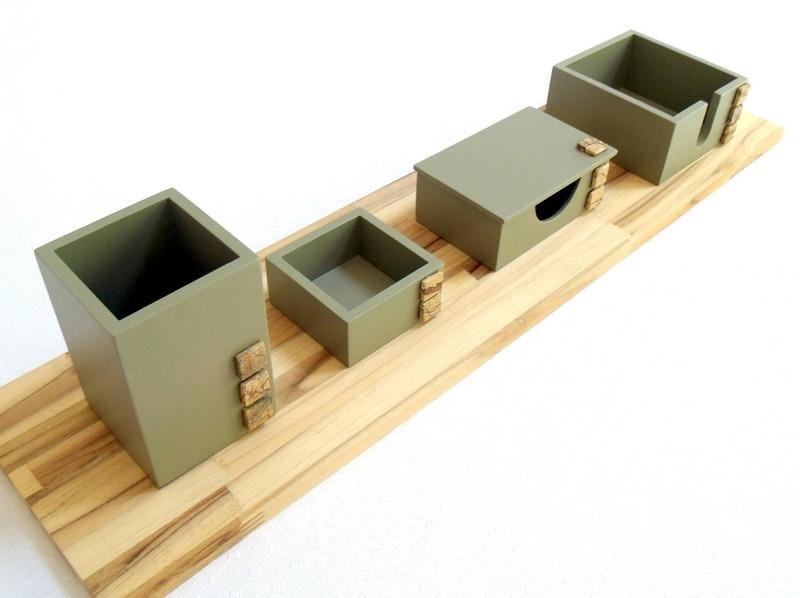 Organizador de mesa 4 em 1 cor concreto base madeira no Elo7  0a4a0b4eb02c9