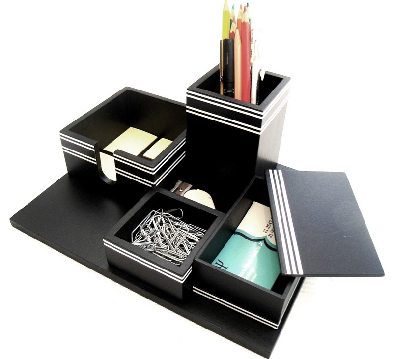 Organizador de mesa 4 em 1 preto com listras brancas no Elo7  95a703d6d6218