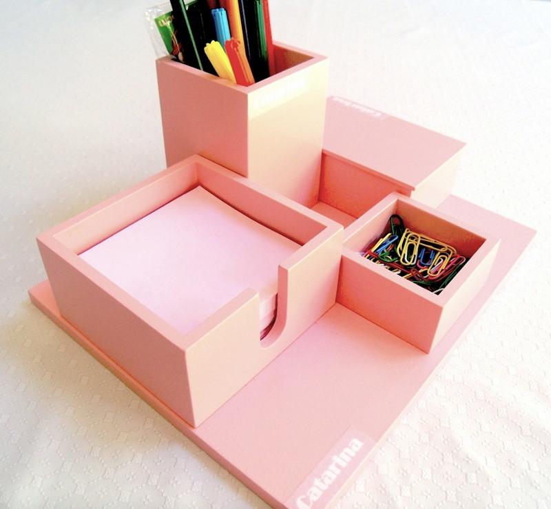 Organizador de mesa 4 em 1 cor rosa personalizado no Elo7  0e916c1e0ed40