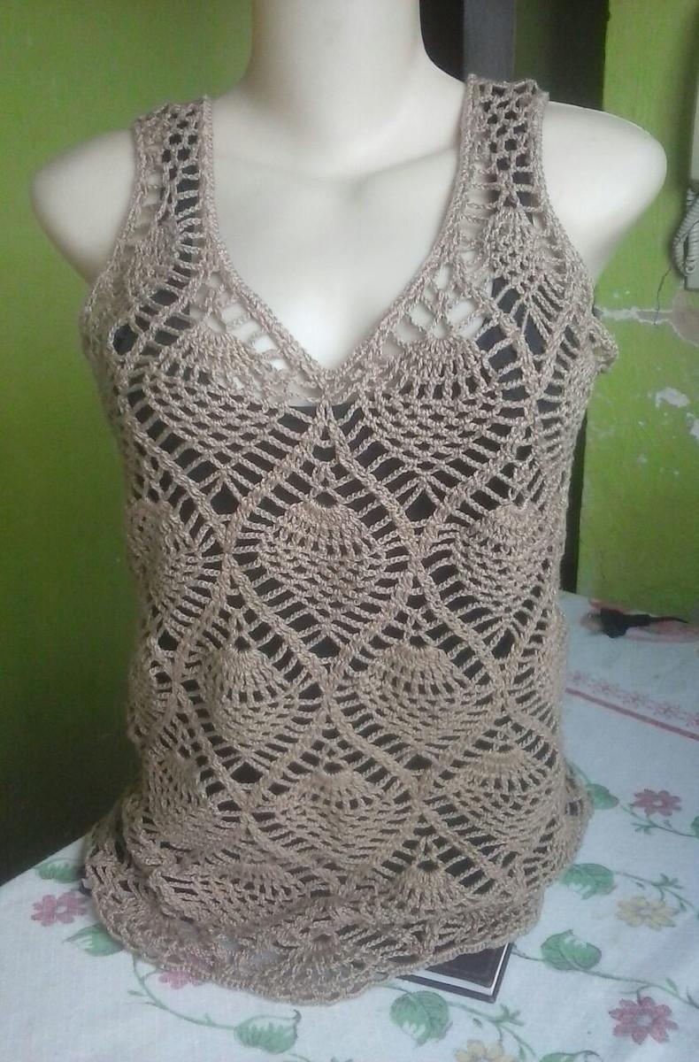 b1c068581 camiseta em crochê ponto abacaxi no Elo7 | Atelier Rosângela santos ...