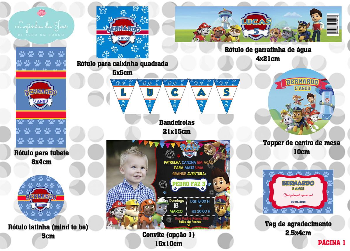 Kit Digital (para Imprimir) Patrulha Canina No Elo7