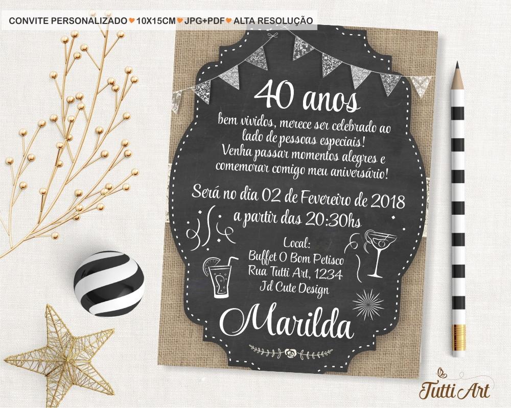 Quero Montar Meu Convite De 50 Anos: Convite 30 40 50 60 70 80 90 Anos