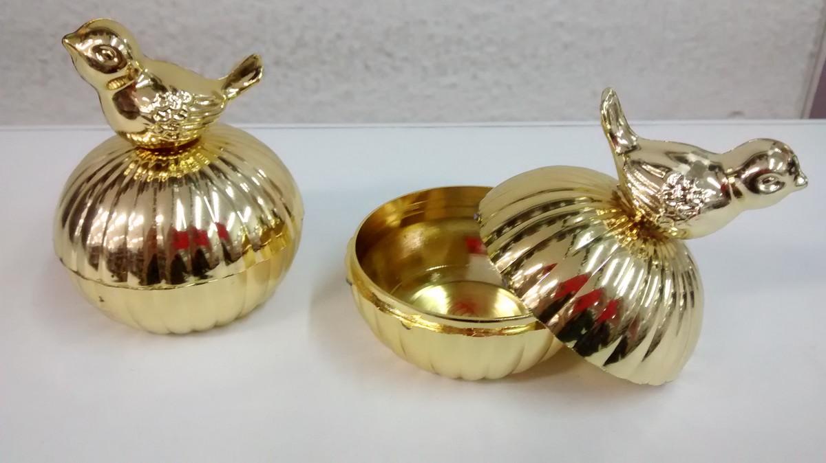 Porta jóias dourado com passarinho no Elo7  045277bbfac