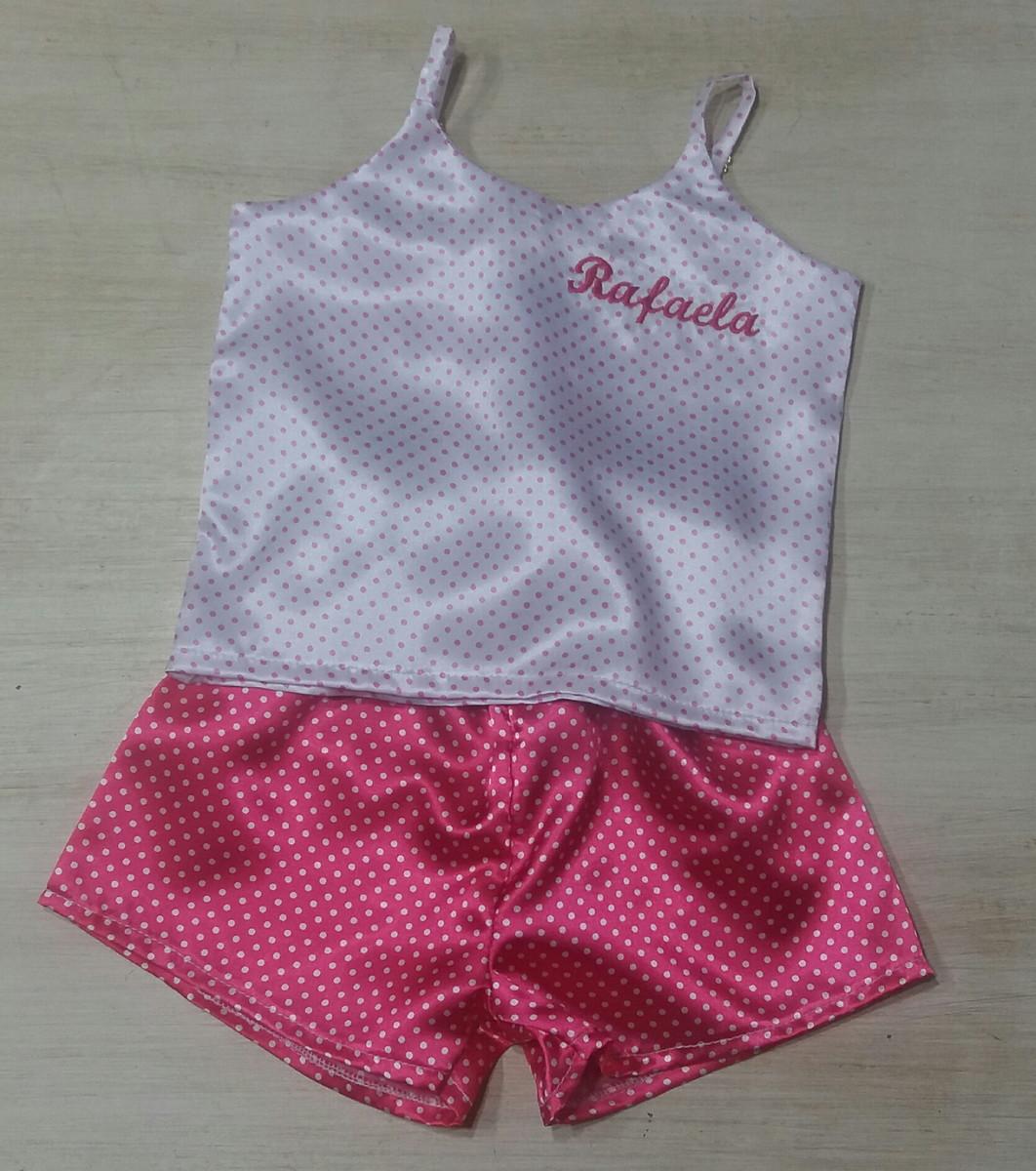 055c5fd87 Pijama de cetim infantil bordado no Elo7