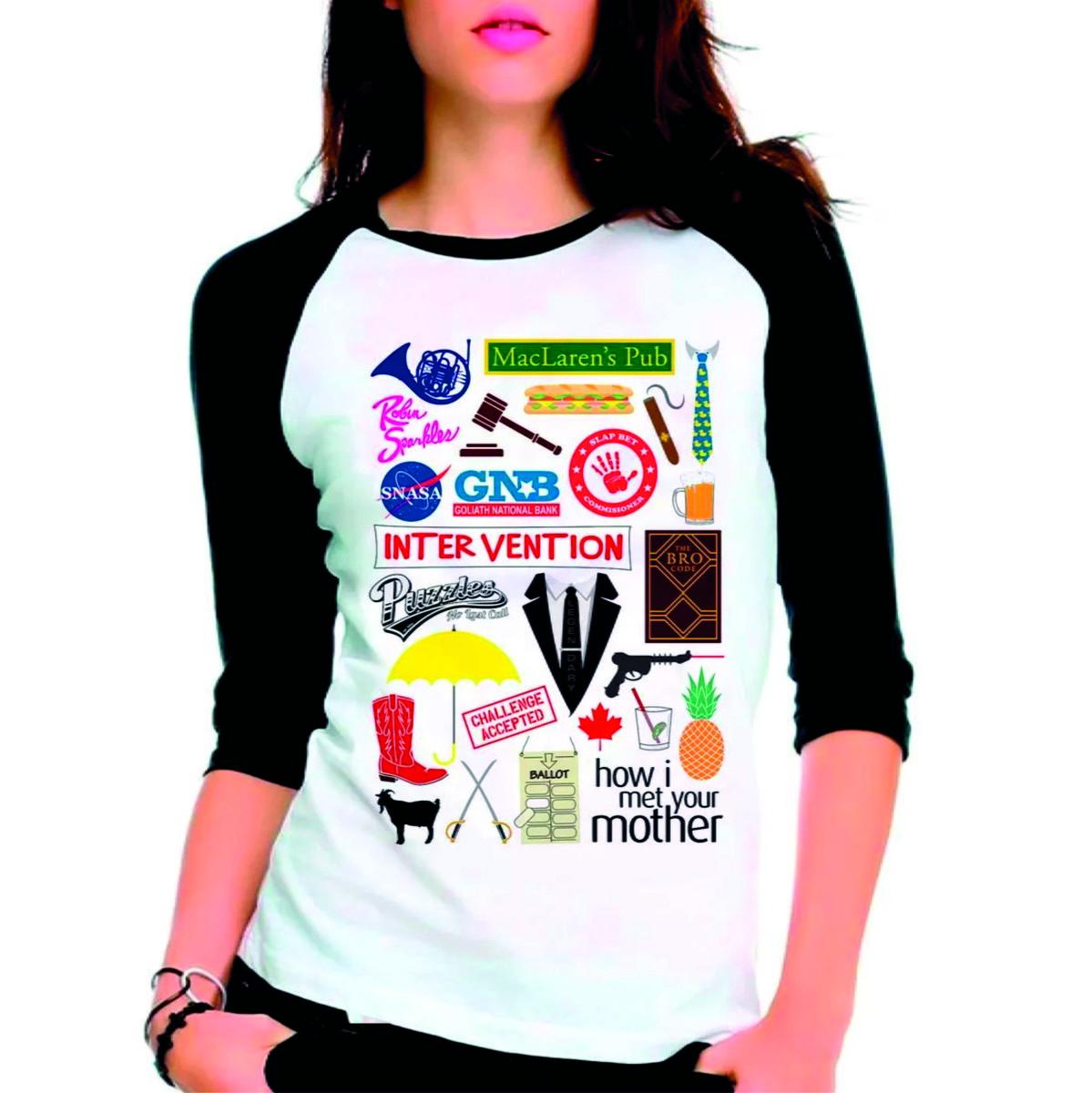 fbde476109dde Camiseta How I Met Your Mother Himym Raglan Manga 3 4 no Elo7