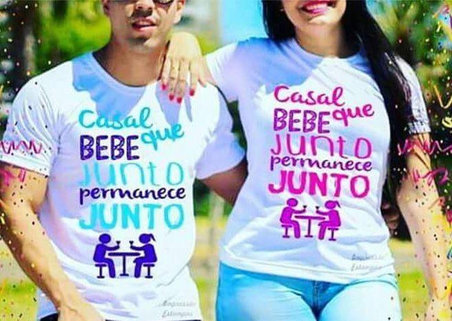 Casal Que Bebe Junto Permanece Junto Camisas Par No Elo7