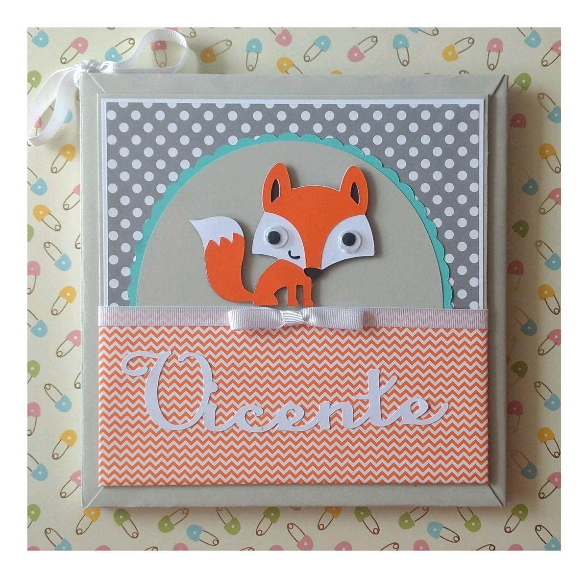5a902ce0d Diário Livro Bebê personalizado raposinha laranja scrapbook no Elo7 ...