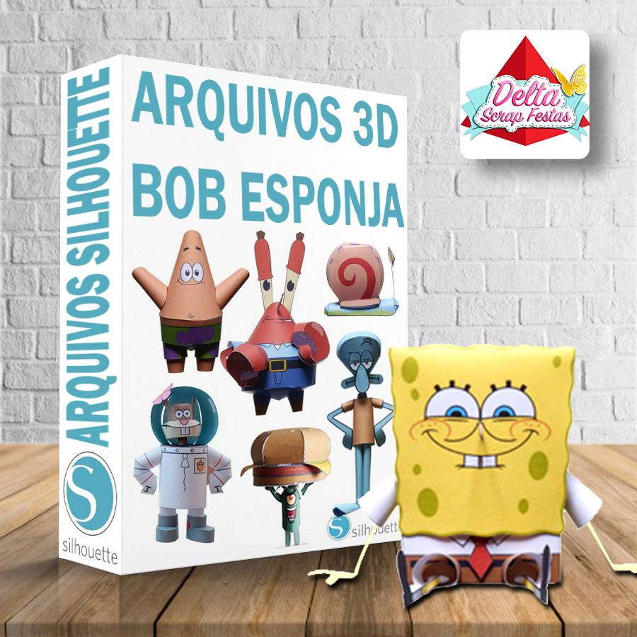 Arquivos silhouette Bob Esponja 3D no Elo7   Design Scrap Festas ... f694cef495