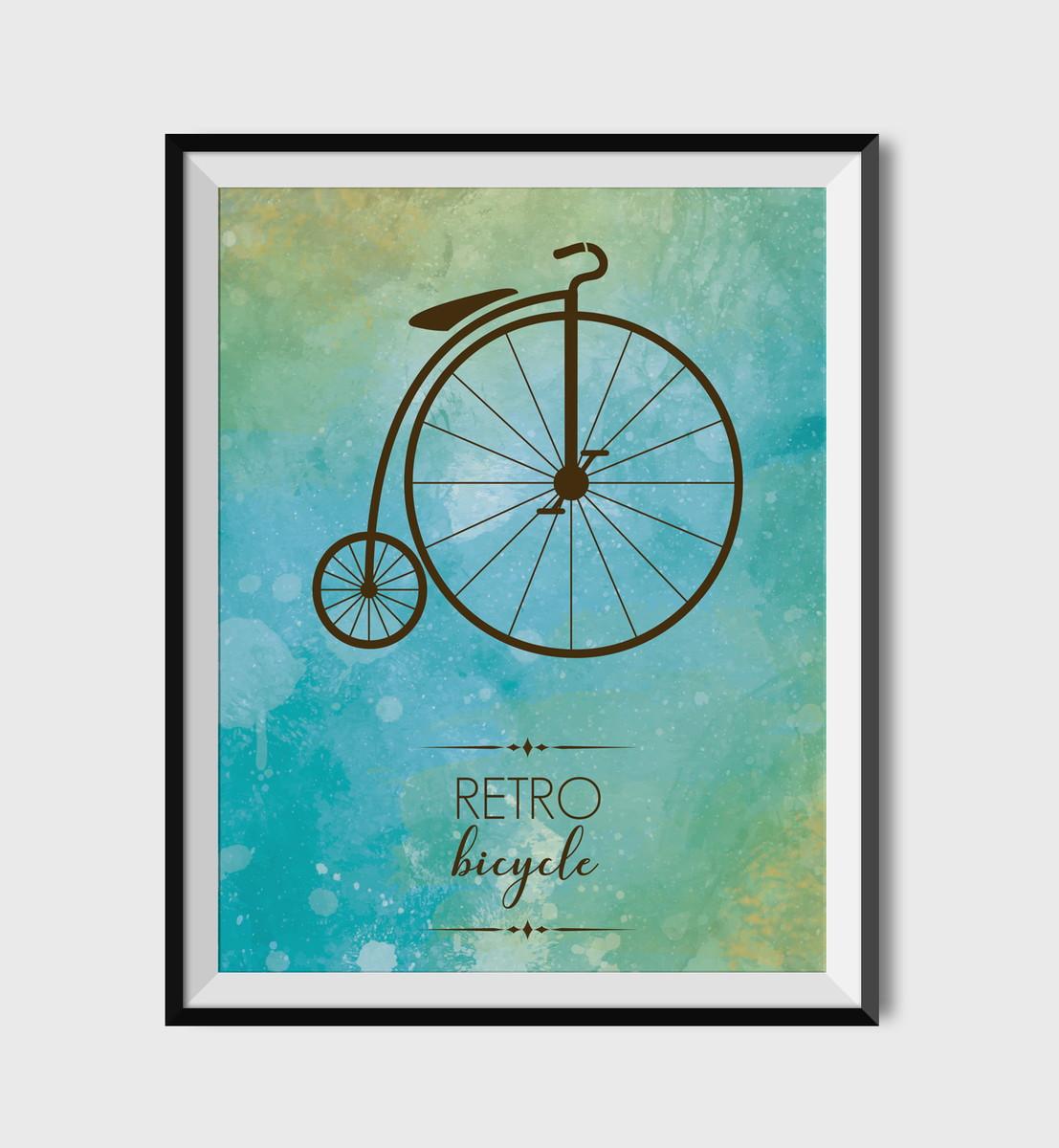 Poster Bicicleta Retro Para Imprimir No Elo7 Par De Ideias