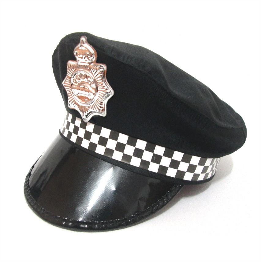 Quepe Policial Preto e Branco Adulto Fantasia de Policia no Elo7 ... c65b2bdf356