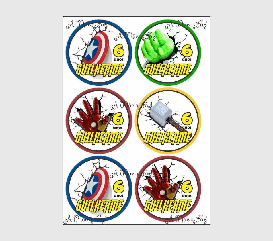 A4 Para Imprimir Com 6 Tags De Aprox 9 5cm Os Vingadores No