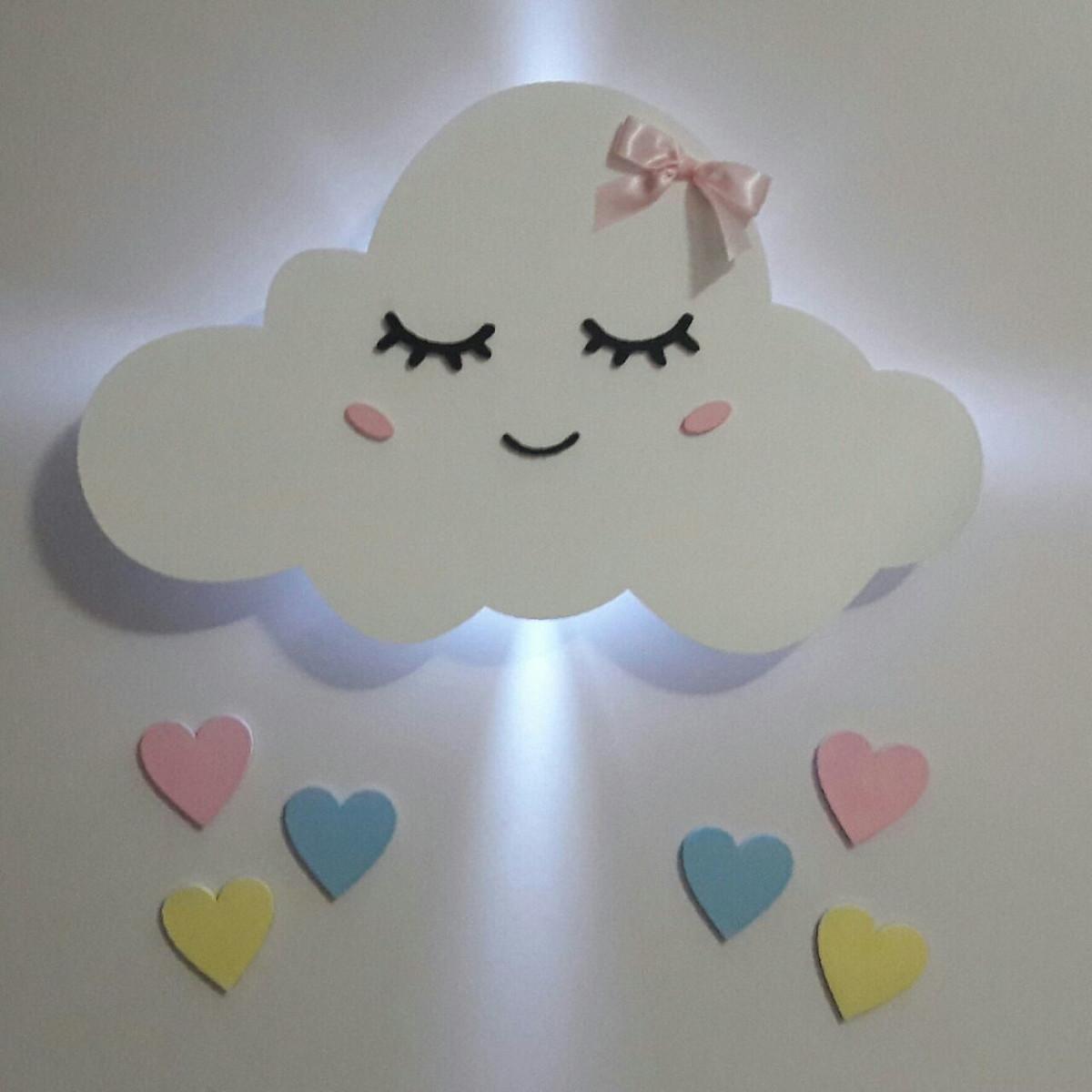 Decora O Nuvem Led Mdf Pintado Quarto Beb Ab Fa A Voc Mesmo  ~ Decoração De Quarto Faça Vc Mesmo