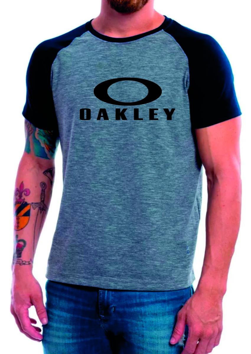 85fa0af218 Camiseta Raglan Manga Curta cinza Mescla Oakley no Elo7