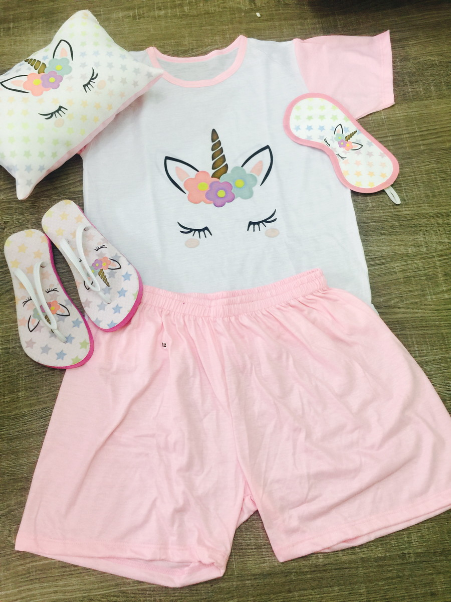 9210b386f3a7e1 kit festa do pijama unicornio almofada tapa olhos chinelo