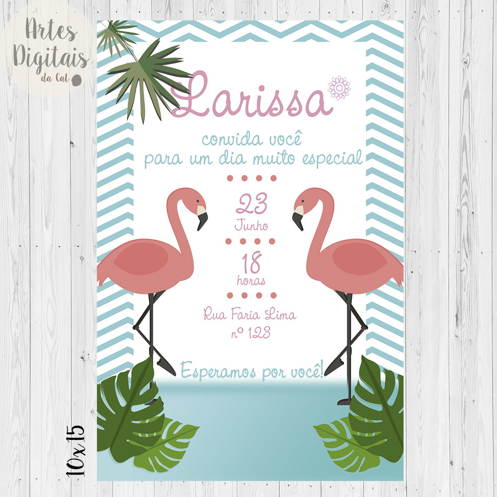 Convite Flamingo Digital No Elo7 Artesdigitaisdacat B41e1b