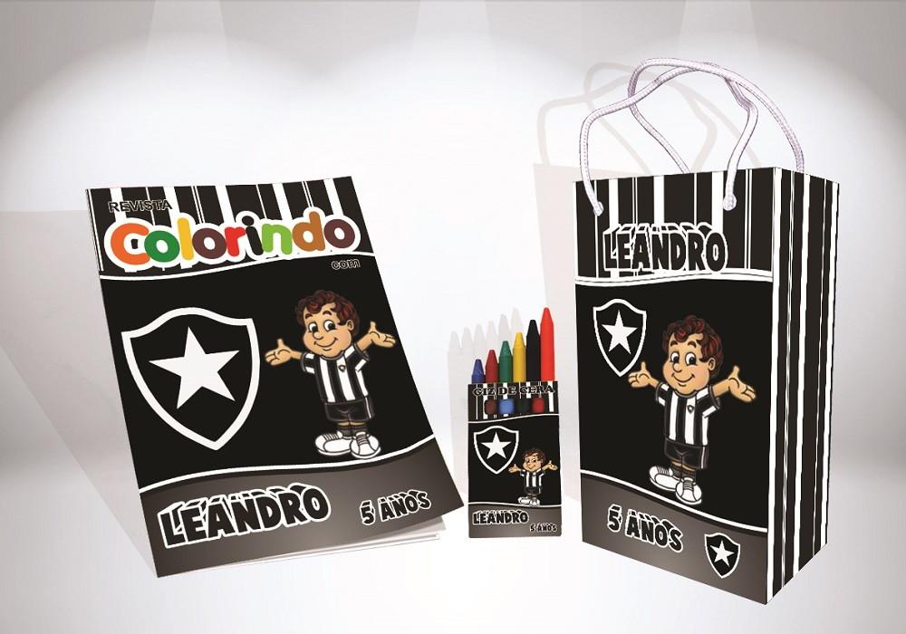 957dd110e9 Kit de colorir do Botafogo Sacola Giz Revista brinde no Elo7