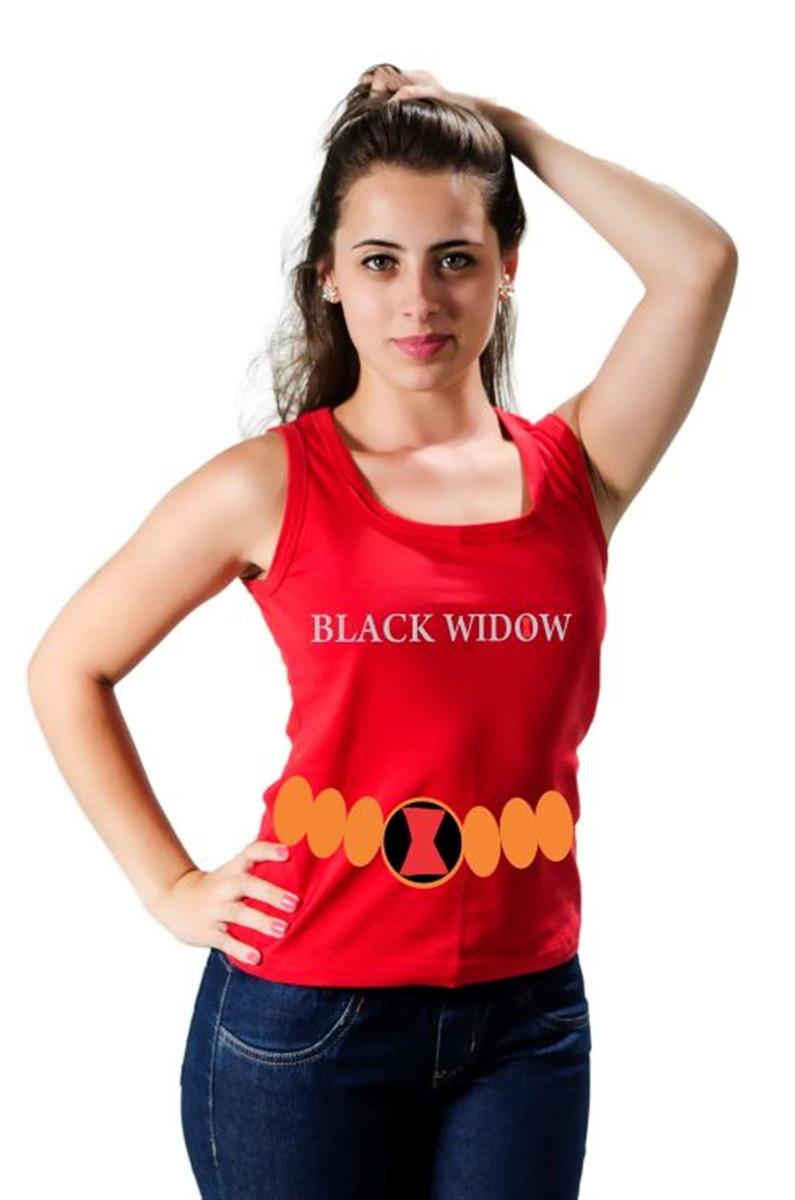 94d5f27dd3 Camiseta Regata Viúva Negra Com Cinto Estampado Feminina no Elo7 ...