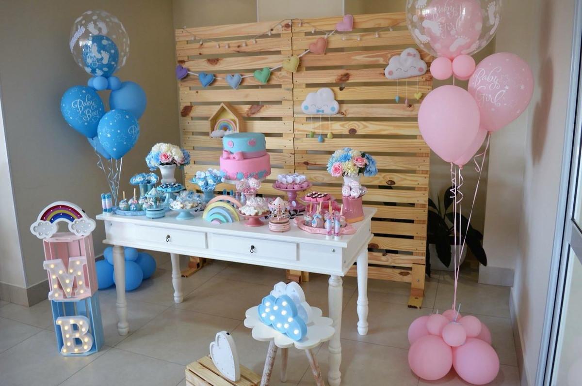 Decoraç u00e3o Chá Revelaç u00e3o Nuvem Rosa e Azul Locaç u00e3o no Elo7 Japa Festeira (B4AC06) -> Decoração Chá De Bebê Nuvem