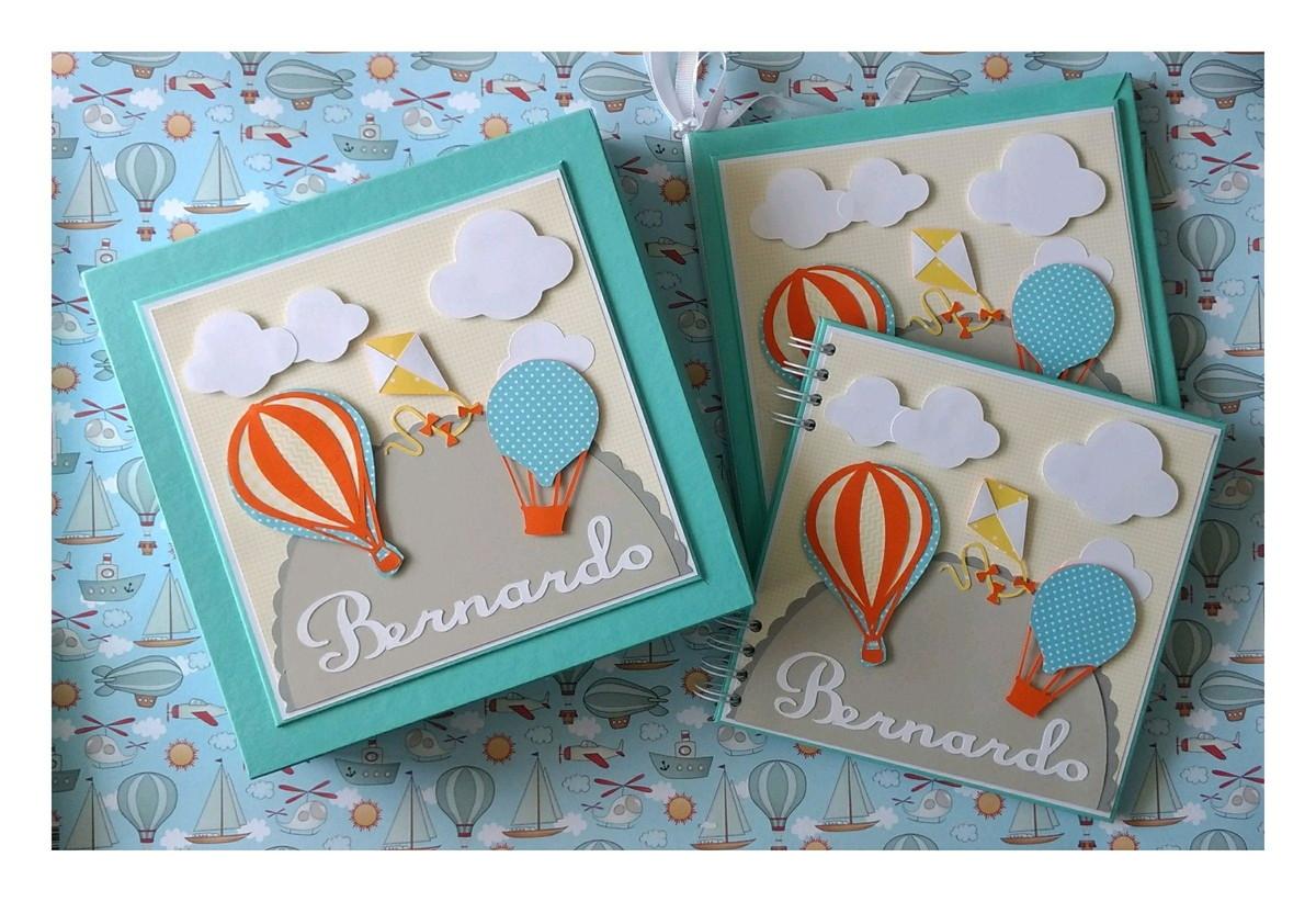 5dfa5a2fd livro bebe menino caixa e caderno personalizado baloes pipa no Elo7 ...
