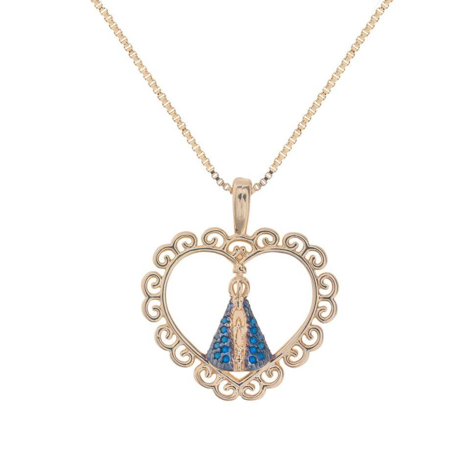 Colar de Coração Nossa Senhora Aparecida Azul no Elo7   Drusi Semi ... e13b7ef9fb