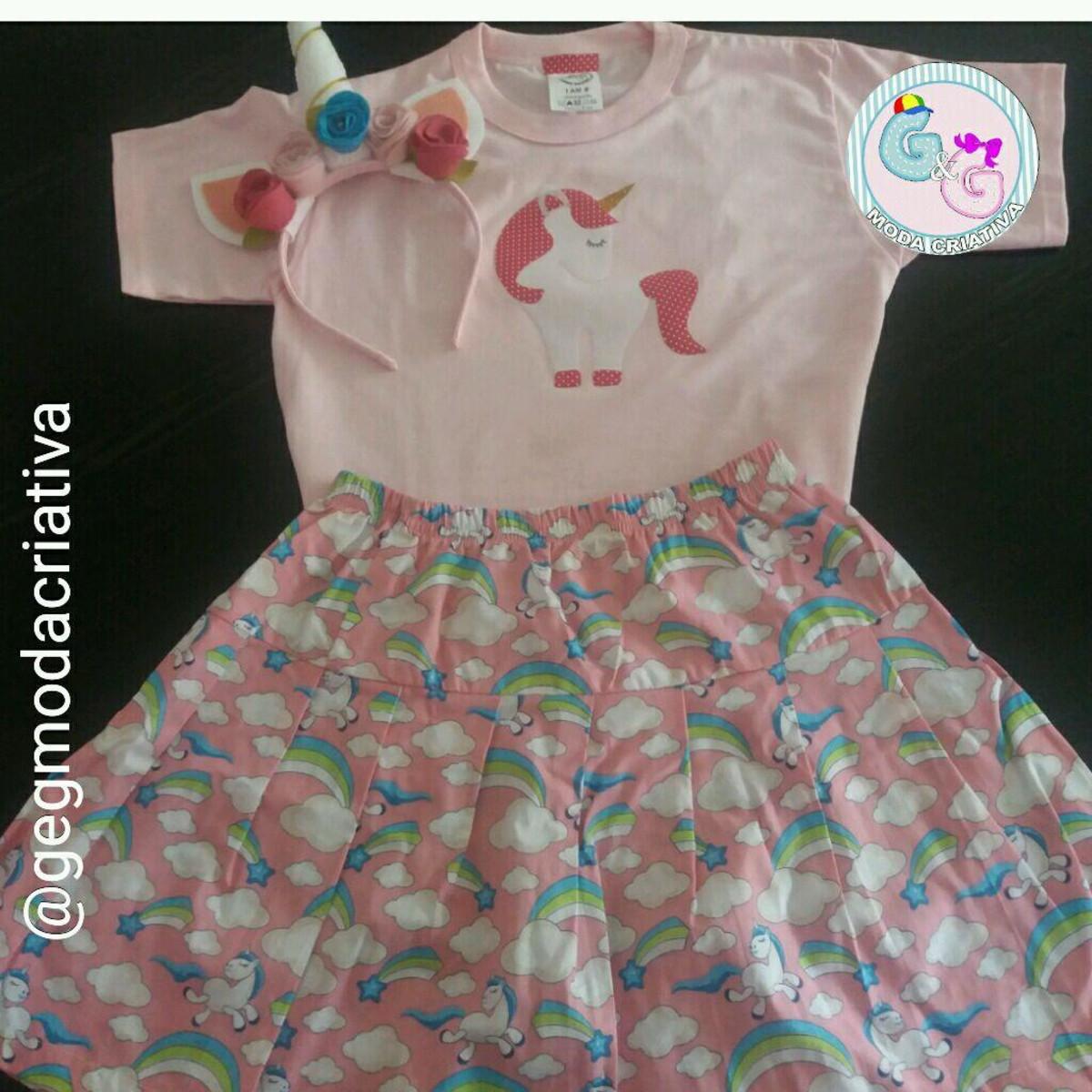 Kit Camiseta + saia + tiara Unicórnio no Elo7  7667f9d069d1c