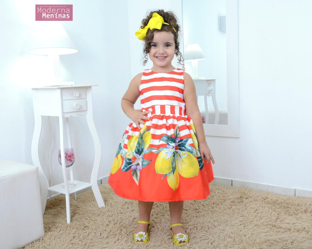 b56bd9aa7 Vestido infantil festa floral com frutas cítricas – Limão no Elo7 ...