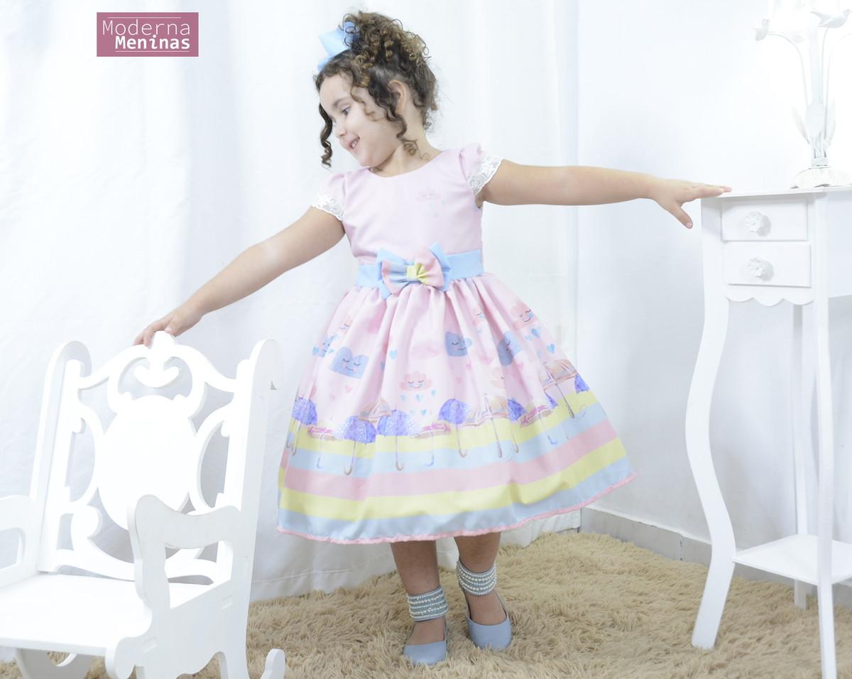Vestido Infantil Festa Chuva De Amor E Guarda Chuvas Chuva
