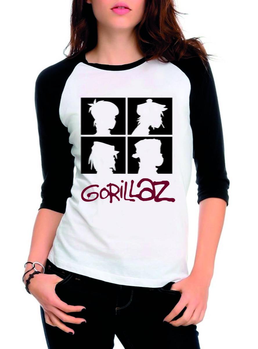 Camiseta Raglan 3 4 Banda Gorillaz  2 - Camisa Feminina no Elo7  b3881eefd35a1