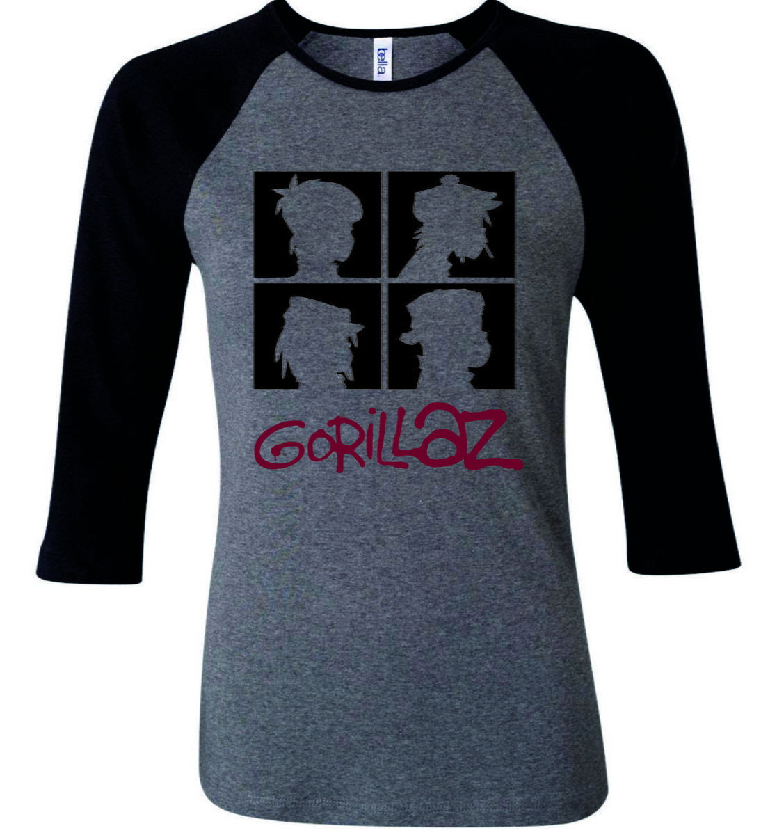Camiseta Raglan 3 4 Cinz Banda Gorillaz  2 - Camisa Feminina no Elo7 ... 07805fca0d412