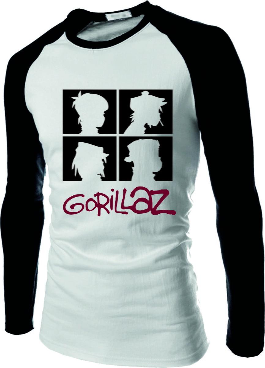 Camisa Camiseta Banda Gorillaz  2 Raglan Manga Longa no Elo7  30b92403f8f23