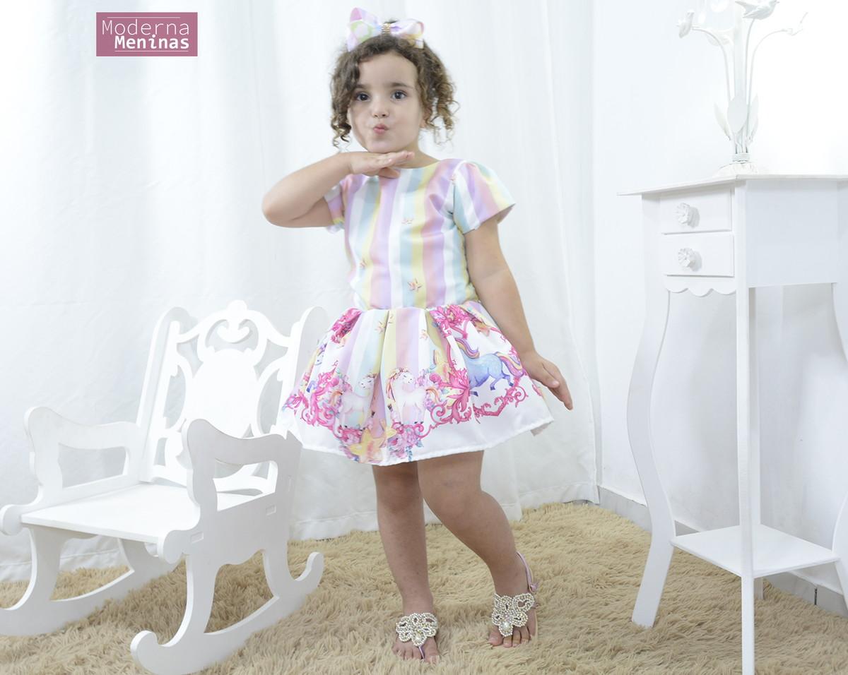 Vestido Infantil Festa Unicórnios Encantados Smart