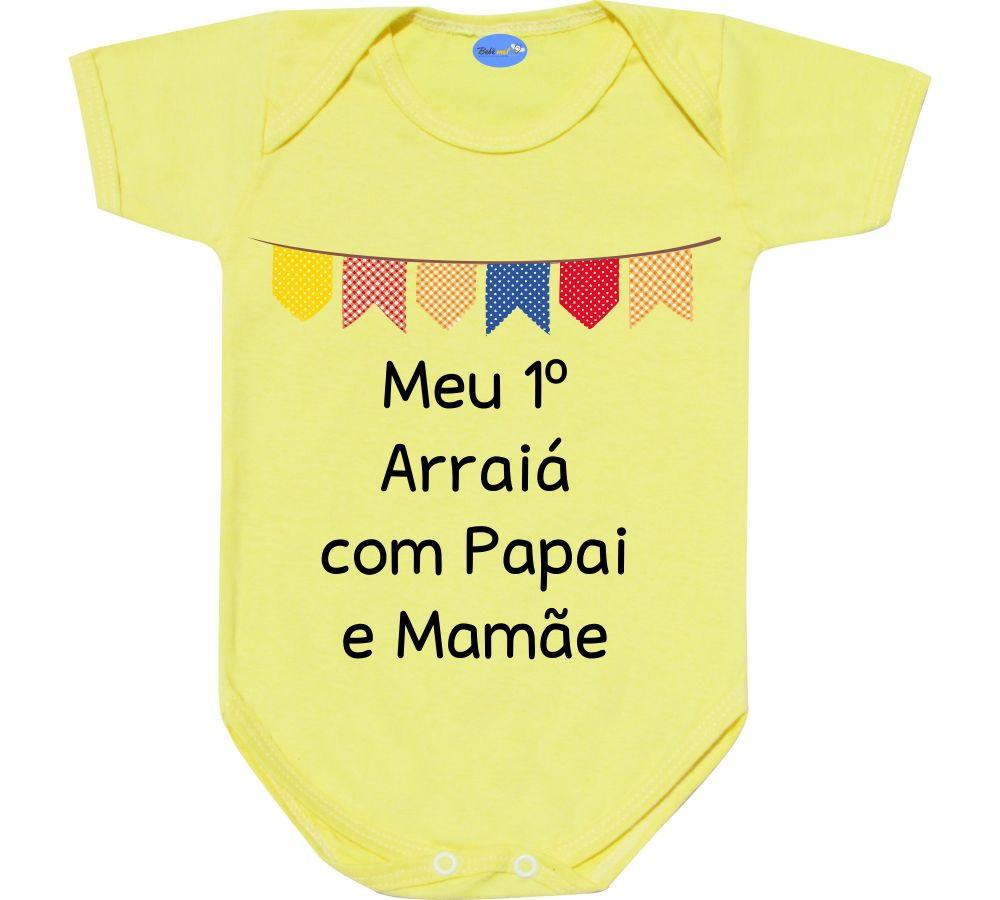 Body Festa Junina Bebê Com Frase Primeiro Arraiá