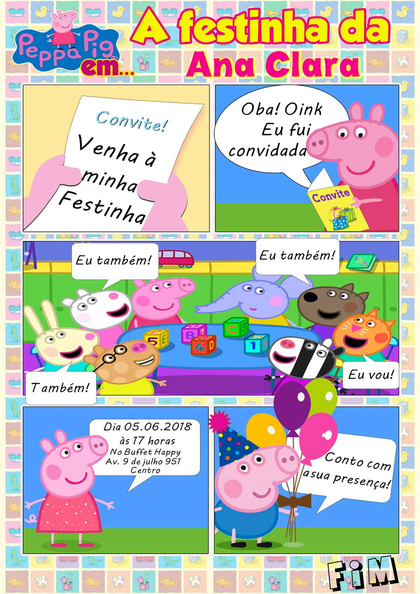 Daddy Pig Mummy Pig Party Paper Convite - PEPPA PIG