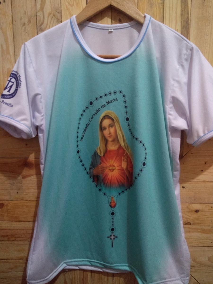 f09512a4c6 Camiseta terço Imaculado Coração de Maria com friso no Elo7