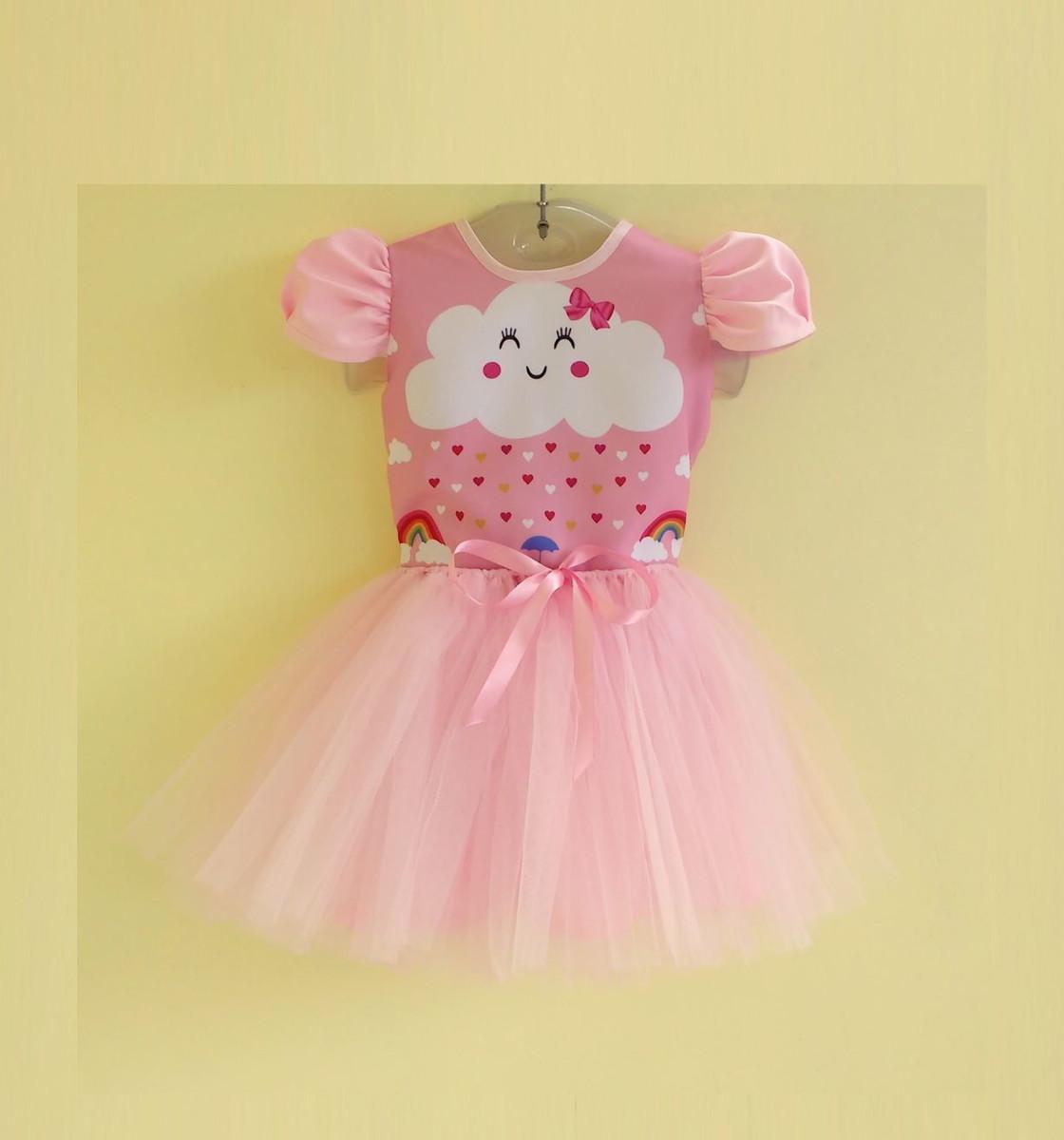 Vestido Infantil Festa Chuva De Amor Chuva De Bênção