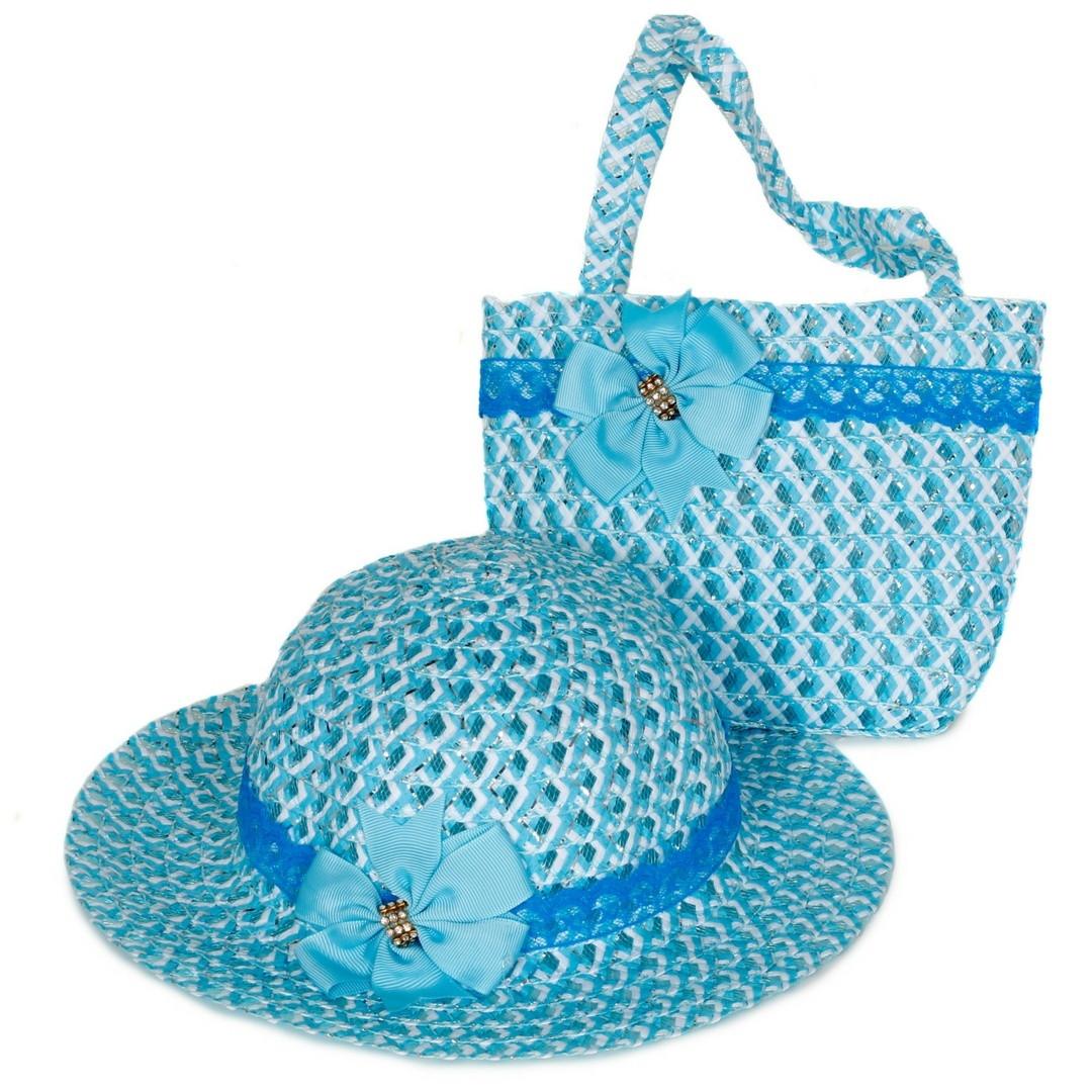 Chapéu De Praia Infantil E Bolsa De Praia (Cor Azul) no Elo7  0375019e76d