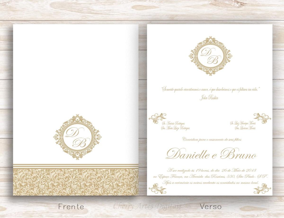 Convite Casamento Arabescos Digital Dobravel No Elo7