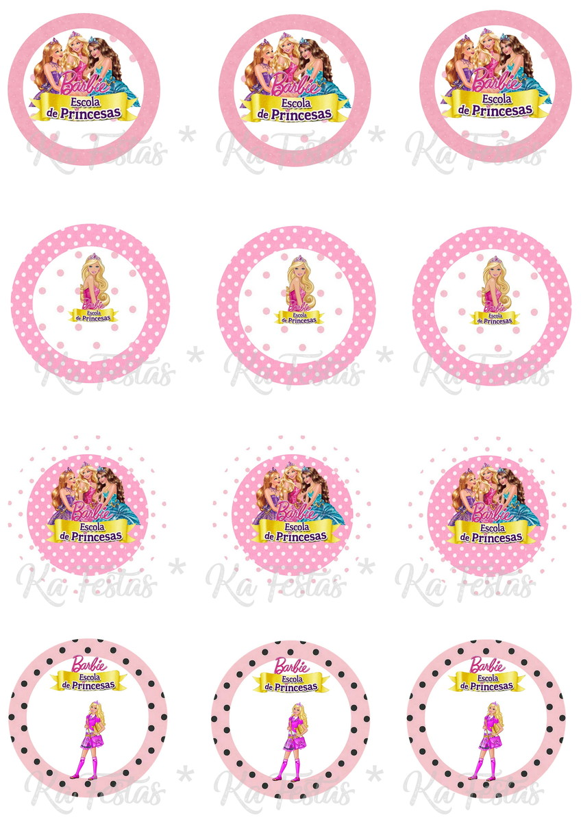Kit Digital Toppers Tags Barbie Escola De Princesas No Elo7 Ka