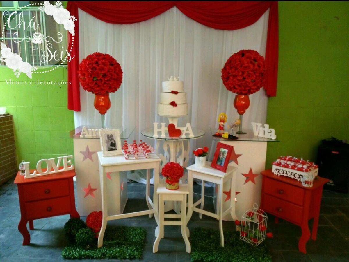 Decoraç u00e3o casamento vermelho e branco no Elo7 Cha das seis mimos (B5BAB6) -> Decoração De Casamento Simples Vermelho E Branco