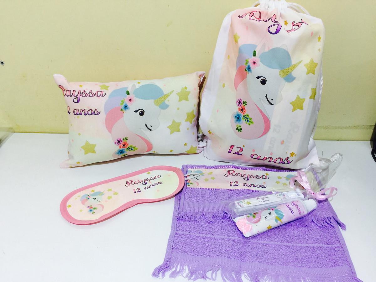 a392d12c752f78 kit festa do pijama unicornio almofada tapa olhos kit dental