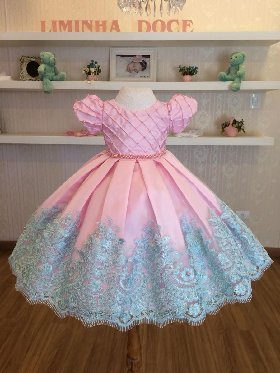 4bb8a5d37 Vestido Tiffany e Rosa para Daminhas de Aliança - Infantil no Elo7 ...