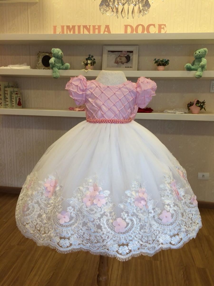 c127adba8 Vestido Branco e Rosa para Daminhas - Infantil no Elo7 | Liminha ...