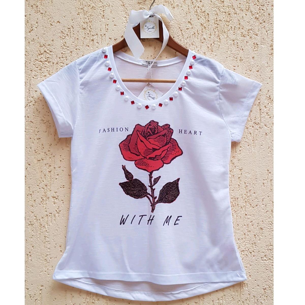 viele modisch am besten authentisch großhandel online Camisetas T-Shirt Feminina - Rosa Vermelha - C/Pedrarias
