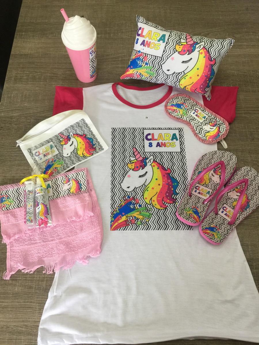 b1b1f60213ef14 kit festa pijama unicornio camisola copo kit dental chinelo