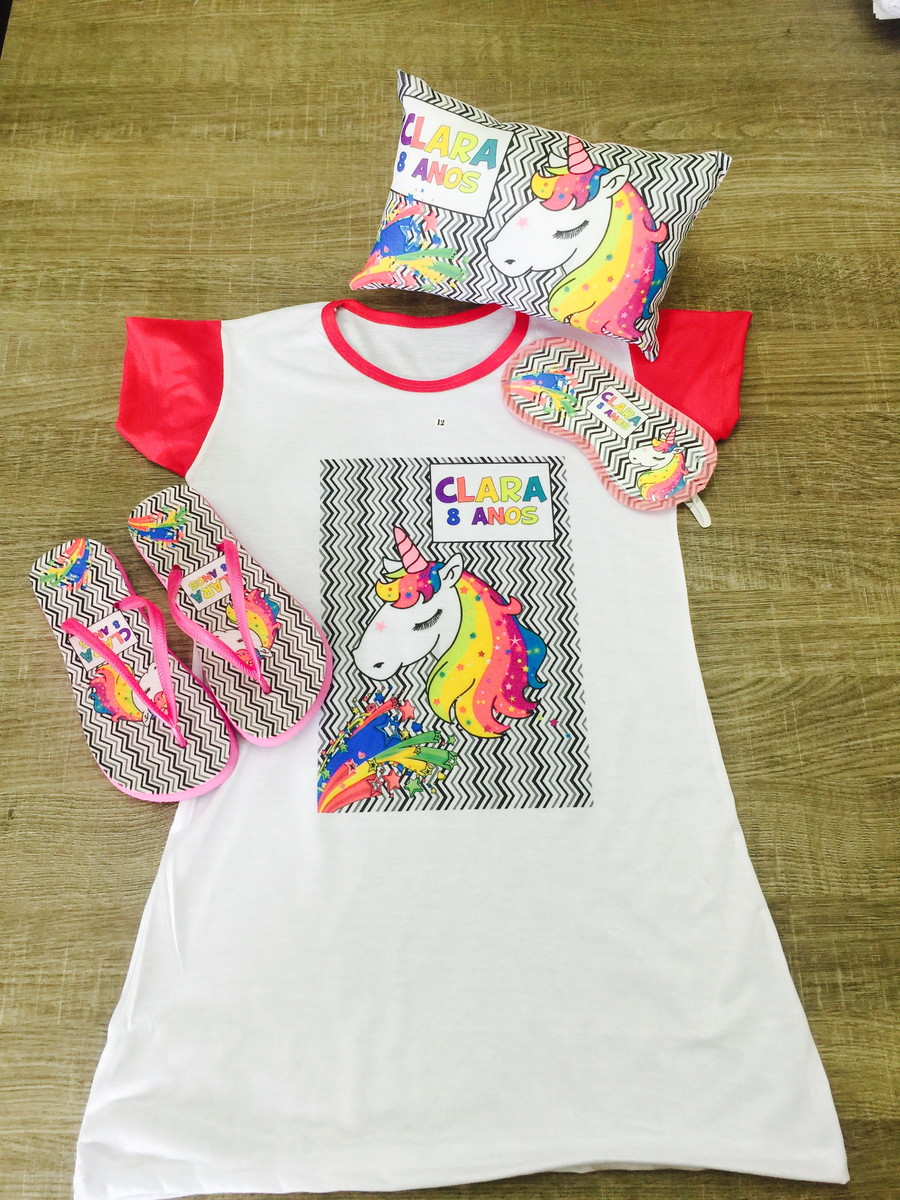 e4d2eadabf9f1b kit festa do pijama unicornio camisola chinelo almofada