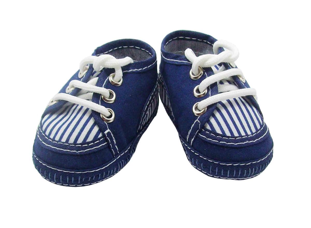 Sapatinho de bebê Tênis Branco e Azul no Elo7  21ac146a715ce