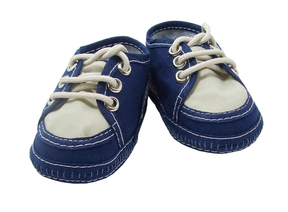 Sapatinho de bebê Tênis Azul Marinho e Bege no Elo7  a605924d042aa