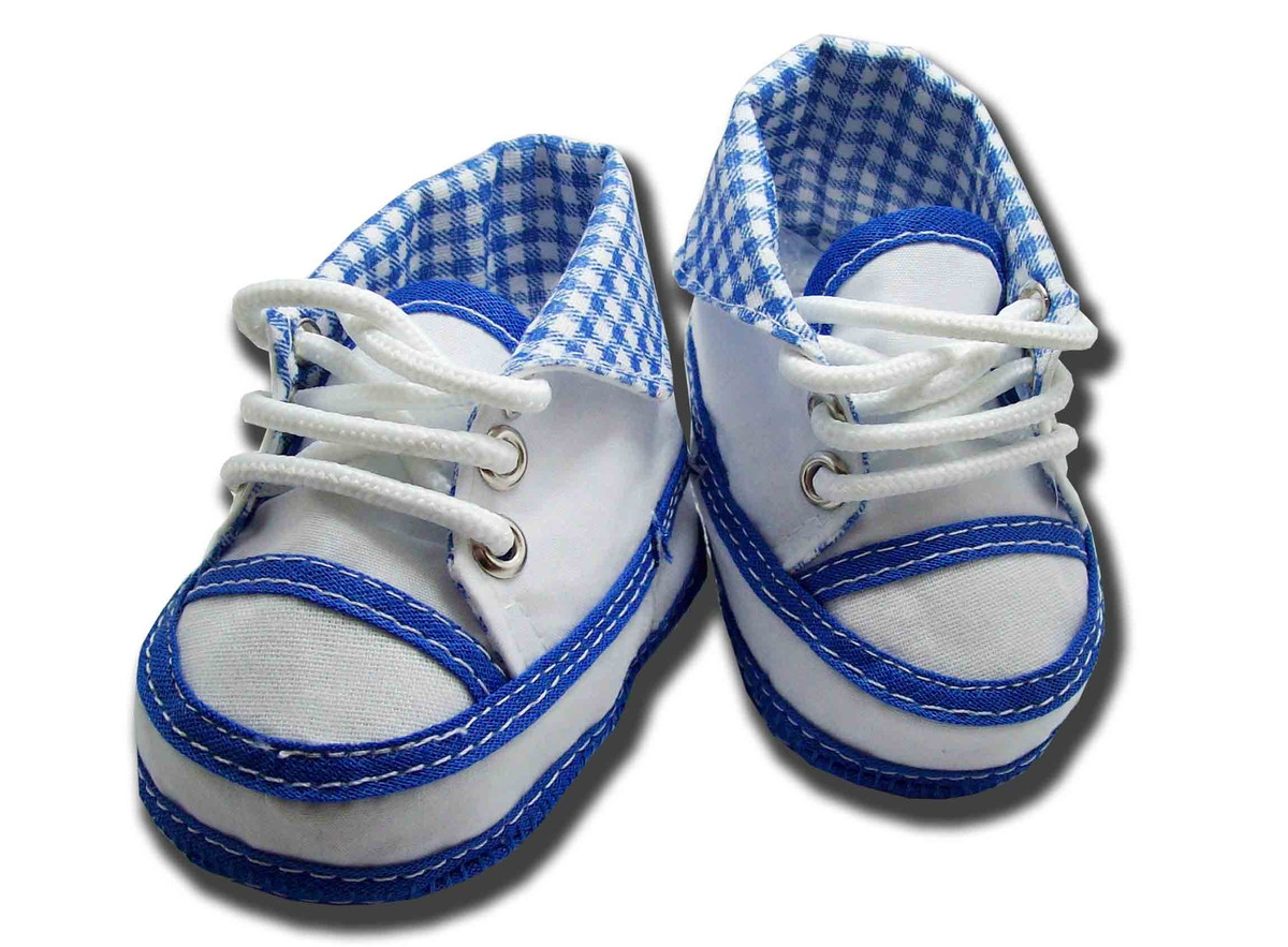 850b422a5 Sapatinho de bebe Tênis Coturno Azul e Branco Xadrez no Elo7 ...