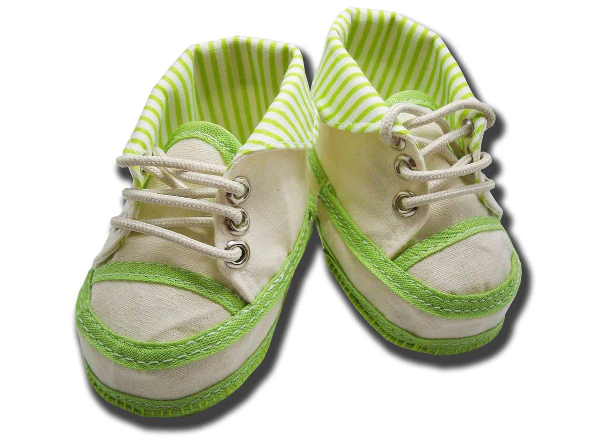 Zoom · Sapatinho De Bebe Tênis Coturno Bege Listrado Verde