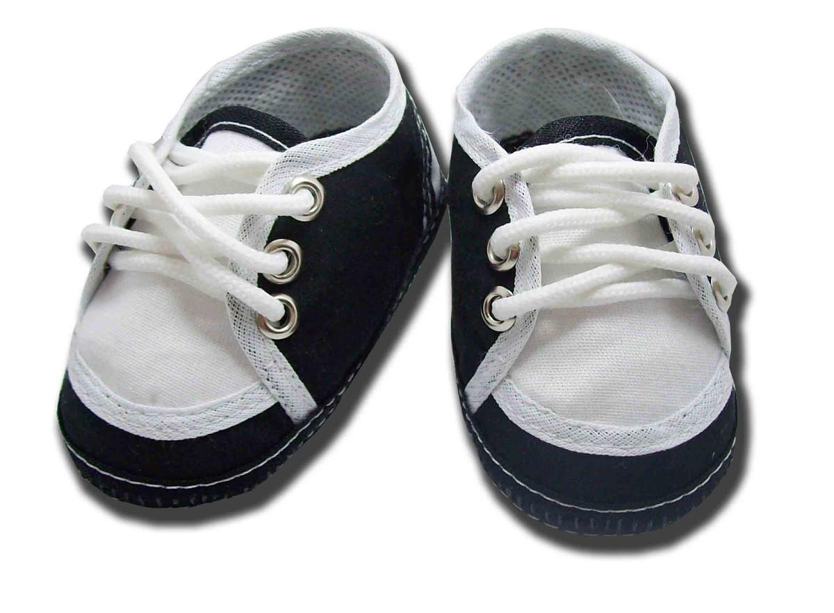 Sapatinho de bebê Tênis Preto e Branco no Elo7  79ea67ae47025